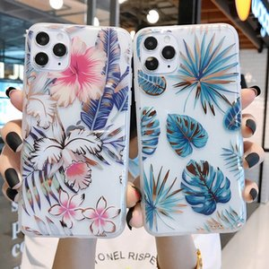 Clear Florals Phone Case For iPhone 11 Pro Max XR X XS Max 7 8 Glitter Leaves IMD Cases For iPhone 7 8 Plus SE 2020 Back Cover
