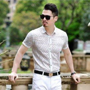 Blanco Ver a través de las camisas para hombre Elástico Plus Tamaño Mens Shirts Transparent Latin Dance Ropa Blanco Black Sexy Club Outfits1
