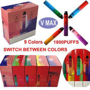 100% authentischer Vmax 2in1-Einweg-Vape-Stift 1800Puffs 5.8ml-Ölwagen 900mAh-Batterie Vorgefüllte Geräthülsen leer, um die Farben zu ändern