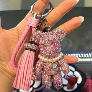 New Pearl car ring with diamond violence bear tassel braided rope Mercedes Benz Volkswagen pendant key chain
