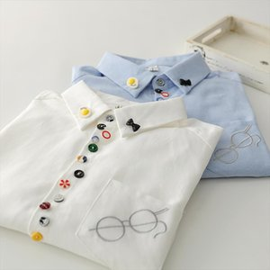 Colorful buttons Glasses embroidery long sleeve Oxford cloth shirt blouse mori girl Drop Shipping Good Quality
