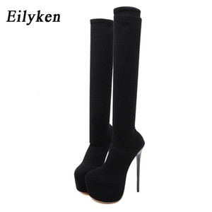 Eilyken 17CM Platform Heels Boots Woman Over Knee Winter Boot Womens Black knitting Shoes Thigh High Socks Boots Lady ShoesZ1204