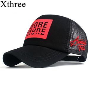 Xthree New Hombre Gorra de béisbol Imprimir VERANO Malla gorra gorras para hombres Mujeres Snapback Gorras Hombre Hats Casual Hip Hop Caps Papá Sombrero Y1130