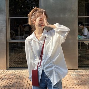 2020 Autumn New Korean Ins Autumn Casual Loose Solid Color Drawstring Tie All-match Long-sleeved Women Shirt