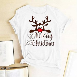 Funny Deer Head Printed Christmas T Shirt Women Harajuku Graphic Tee Round Neck T Shirt Cute Christmas TShirt Holiday Tee Gift