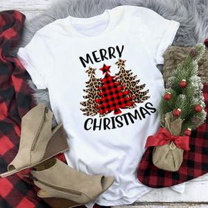 Merry Christmas Fashion Women Leopard Plaid Tree New Year Tshirt Xmas Tee Tops Graphic t Female Tees Shirt