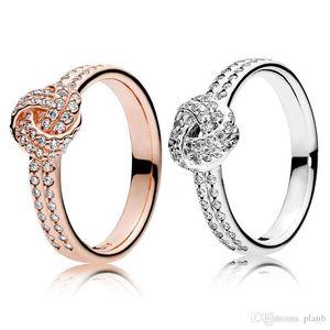 925 Sterling Silver Sparkling Love Knot Ring Set Original Box for Pandora grain Women Wedding CZ Diamond 18K Rose Gold Ring