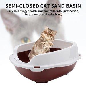 Large Size Cat Litter Box Semi-Closed Cat Sandbox Toilet for Pet Training Toilet Litter Tray with Shovel Gift Cof1