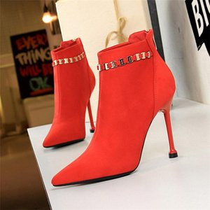 2020 Winter Luxury Women Zippers Pointed Toe Ankle Boots 10cm Eden High Heels Boots Autumn Metal Female Valentine Shoes