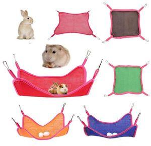 Pet Hammock Hamster Squirrel Chinchilla kennels Home Use Breathable Mesh Hammocks Summer Outdoor Portable Pet Squirrel Mesh Hammock GWC4066