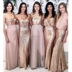 Modest Blush Pink Bridesmaid Dresses Beach Wedding with Rose Gold Sequin Mismatched Wedding Maid of Honor Gowns Women Party Formal Wear