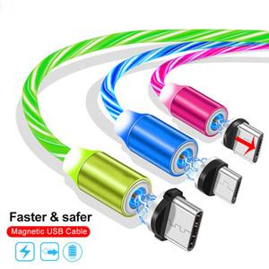 유형 C USB 케이블 고속 충전기 LED 흐르는 빛 자기 케이블 빠른 충전 라인 3FT 2A 마이크로 충전 코드 라인 삼성 화웨이