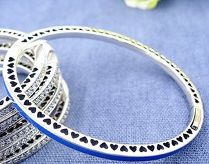 High-quality 925 Sterling Silver Radiant Hearts Bracelet Bangle with Princess Blue Enamel & CZ for European Pandora Style Charms and Beads