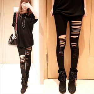 lady punk fashion street wear pants women stripe hole pants spring autumn ripped capris girl slim fitted pencil leggings