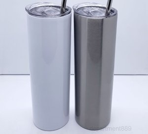 20oz 30oz sublimation straight skinny stainless steel tumbler double walled vacuuminsulated sealed lid plastic straw sea way OWF2680