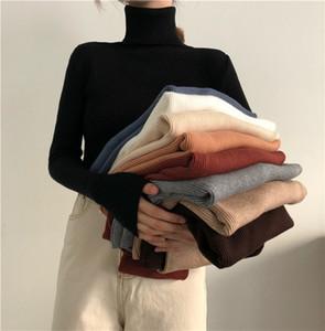 Черепаха шеи женские свитера все матч тонкий с длинным рукавом вязки твердого цвета пуловер женские топы одежда для осени зима