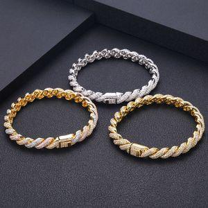 Bracelet à corde Janekelly Gold Silverthick Hommes Twisted Chaîne Tressée Bracelet hip hop Y1218