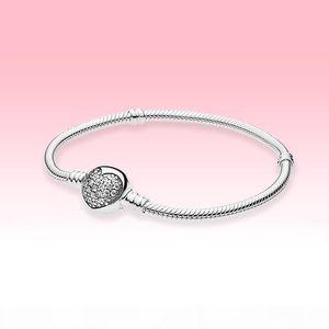 Mujeres CZ Diamond Love Hearts Charms pulseras con caja original para Pandora 925 Sterling Silver Spress Heart Heart Chasp Chain Pulsera de cadena