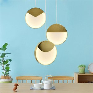 Nordic modern metal round chandelier lighting simple design showroom living room bar counter bedroom bedside pendant lamps