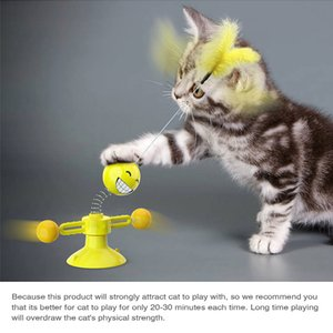 Pet Cat Toys Spinning Ball Feather 360 ° Free Rotating Cat Club Attract Cat's Interest Yellow Appearance High Elastic Spring
