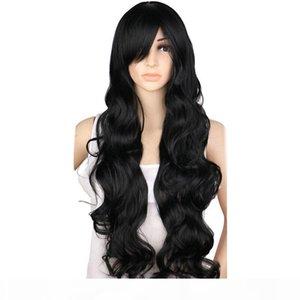 Turecolor парики Длинные вьющиеся Cosplay Парик Костюм партии Красный Розовый Щепка Серый Белый Черный 70 Cm High Temperature Синтетические парики волос