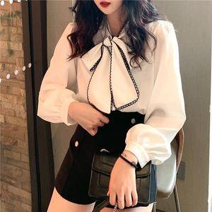 Mozuleva Women Long Sleeve Shirts White Blouses Vintage Korean 2020 Sweet Bow Loose Ladies Blouse Office Lady Sweet
