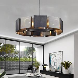 Arte Moderno LED Luces de araña Diseño Dormitorio Simple Sala de estar Araña Iluminación Negro Metal Creativo Colgante Lámparas