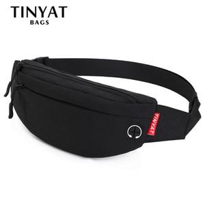 TINYAT Men Male Waist pack Purse Casual Large Belt Pouch Canvas Travel Phone Fanny Banana Bag Hip 4 Pockets 201130