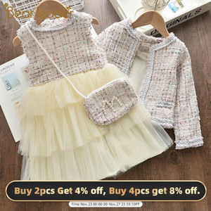 Bear Leader Girls Children's Sets 2020 New Autumn Princess Outfits Elegant Winter Mesh Suits Cute Kid Children Clothing with Bag Y1124
