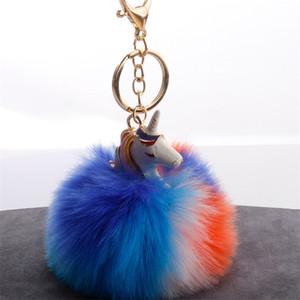 Einhörner Pelzkugel Keychain Sky Horse Pompons Schlüsselring Mode Hairball Mischfarben Pom Pom Schlüsselanhänger Niedlichen Schlüsselband Auto 5 2DYA C2