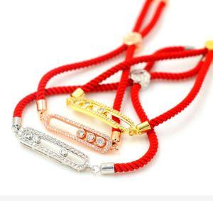 3 шт. Гибкие скользящие мозаики хрустальные шарики женщины очарование браслет красный резьба веревка счастливого любовника золотые браслеты регулируемая девушка украшения