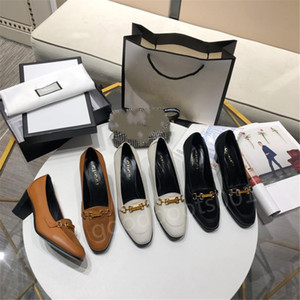 Hot sale in autumn and winter square toe thick heel metal buckle high heels, all-match European and American fashion single shoes women