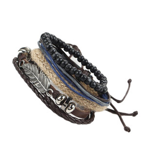 Retro Metal Feather Wood Beads Braclets For Male Boy Cool Wristband Bijoux Punk Multi Layer DIY Braided Leather Cord Bracelets