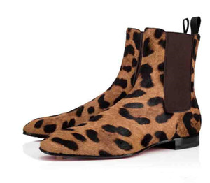 Brands Gentleman Wedding Boots Red Bottom Designer Men's Shoes Roadie Orlato Flat Middle Shoes ,Super Perfect Ankle Boot For Men Leopard