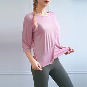 Fitness Clothing Women T Shirt Loose Three Quarter Sleeve Running Training Quick Drying Sports O Neck Top Irregular Hem