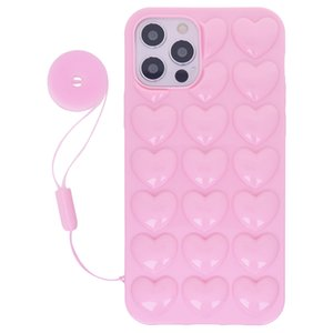 Para iPhone 12 pro max caixa mini 11 xs x 8 7 6 6s mais cute feminino feminino cinta 3d bolha coração