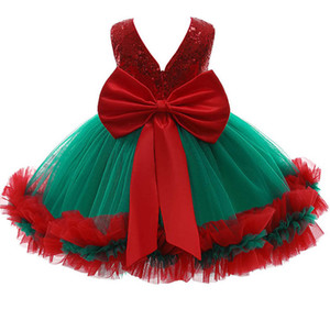 INS 2020 new Christmas girls dresses sequin bowknot girl dress lace kids dresses princess party dress formal dresses Ball Gown B2873