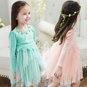 Floral Baby Girls Dress Lace Cotton Lining Princess Dress Vestido Spring Autumn Infant Tutu Clothing Long Sleeve High Quality 1 2 3 T