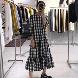 2020 New Spring Plaid Lantern Sleeve Mid calf O neck Loose Vestidos Women Korea Lazy Pleated Dress FS881