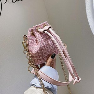 Mini Drawstring Tote Bucket bag 2021 Summer New Quality Straw Women's Designer Handbag Chain Shoulder Messenger Bag Travel