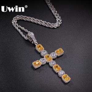 UWIN Hiphop Jewelry Drop Shipping Micro Cross Necklace Chains Charm Cubic Zirconia Iced Square & Round Gem Cross Luxury Pendant Y1130