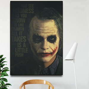 The Joker Movie Poster Prints Classical Heath Ledger Figure Canvas Oil Painting Wall Pictures for Living Room Home Decoration