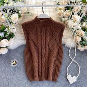 Women's Vests Women' Sweater Vest 2021 Autumn Fashion Solid O Neck Sleeveless Warm Knitted Top Elasticity Casual Female Knitting Tops
