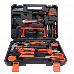 45 pcs Garage and Home Tool Kit with Claw Hammer Wrench Pliers Screw Bits Tool Set in Box For Home Office Yard garden Y200321