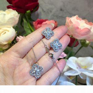 Luxury Classic Designer S925 Sterling Silver Full Zircon Four Leaf Clover Flower Stud Earrings For Women Jewelry