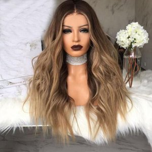 Black to brown Synthetic Wigs for women - Natural Looking Long Wavy Right Side Parting NONE Lace Heat Resistant Wig 28 inch