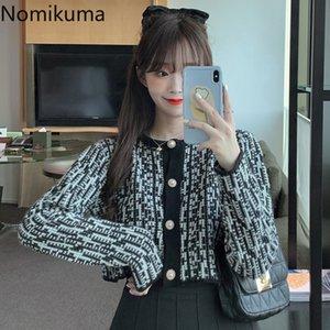 Nomikuma Korean Short Elegant Women Sweater Coat Single Breasted Long Sleeve O-neck Knit Cardigan Jacket 2020 Autumn New 6B459 201123