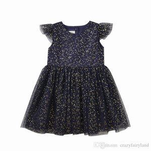 Kids Clothes Girls Bling Star Tulle Dress 2019 Summer Ruffle Short Sleeve Tulle Dress Toddler Girls Clothes Princess Party Dress