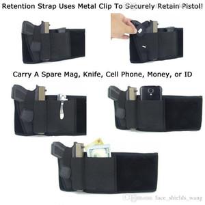 Elastic Belly Band Pistol Gun Holster Undercover Adjustable Waist Slimming Belt Abdominal Binder Pistol Holster with 2 Mag Pouch