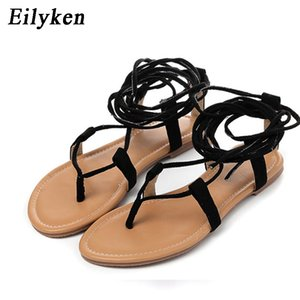 Eilyken Women Cross strap Knee high Summer Roman Gladiator Sandals Strappy Clip Toe thong Flat Heel Flip flops Flock Shoes J1208